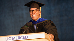 Lester Holt speaking at graduation